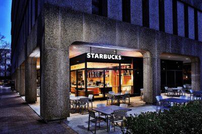 Outside of Welsh Starbucks, USC